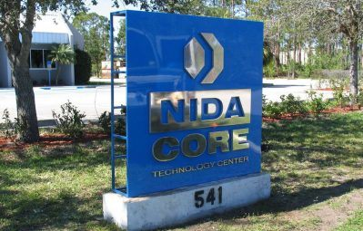 Nida Core tech center free standing sign with 3d chrome lettering