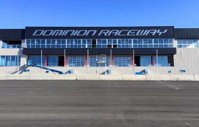 dominion raceway extremely large exterior printed lettering
