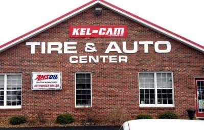 Kel-Cam Tire & Auto exterior lettering decals