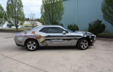 Charlottesville PD USA American flag muscle car wrap