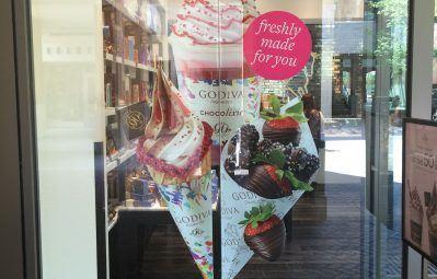 Godiva promo photo printed window decal