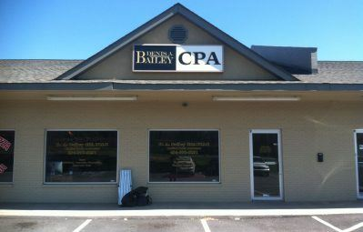 Dennis A Bailey CPA business sign and window lettering decals