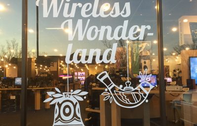 Wireless Wonderland Christmas holiday window decal