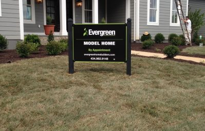 Evergreen model home exterior printed sign