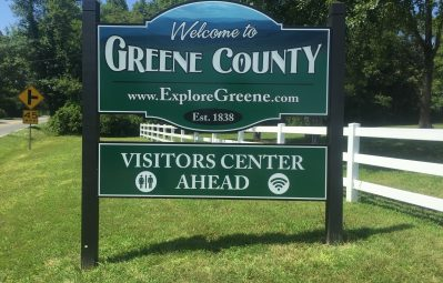Green Visitor Center road sign full color print