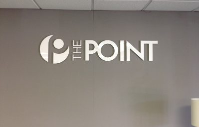 The Point glossy 3d interior text and logo