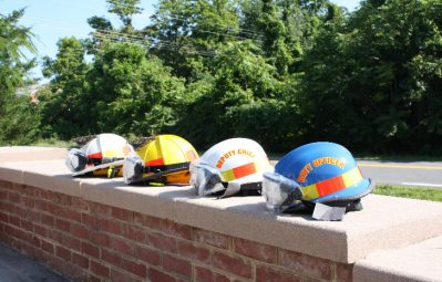 Fire department reflective stripe safety helmet designs