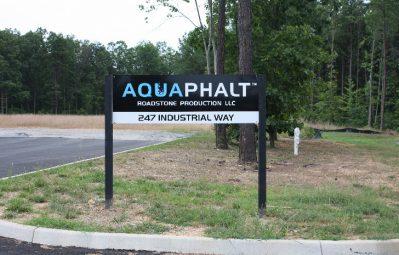 Aquaphalt posted exterior lot sign