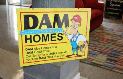 DAM Homes aluminum sign full color print