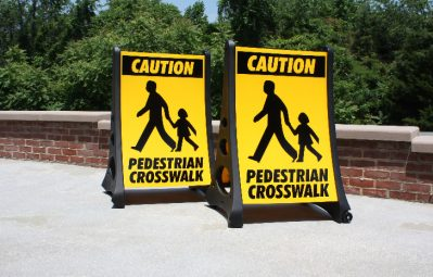 Pedestrian crosswalk public safety portable a frame signs
