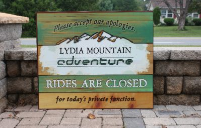 Lydia Mountain color printed event sign