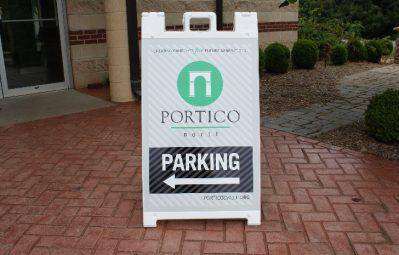 Portico Parking a-frame vinyl signage