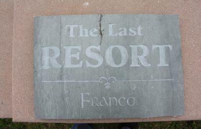 The Last Resort sandblasted stone sign