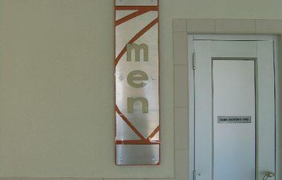 interior restroom sign laser cut aluminum