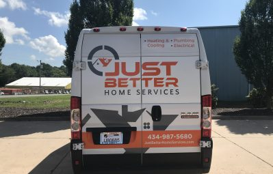 Just Better Home Services 2 color vinyl partial wrap