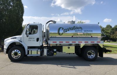 Cavalier Septic Service 2-color decals driver-side view