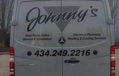 Johnny's HVAC metallic branding decals 2 color vinyl application