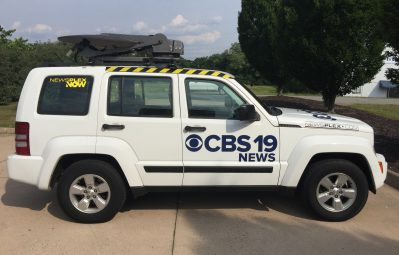 CBS 19 News decals passenger-side view