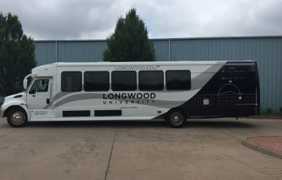 Longwood University vinyl bus wrap partial 2 color wrap