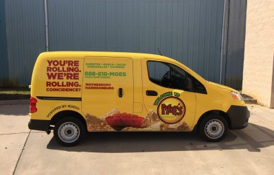 Moe's Southwest Grill full color print passenger-side view