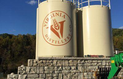 Virginia distillery industrial tank branding and logo